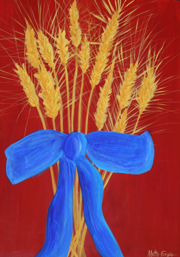 Wheat with Blue Bow