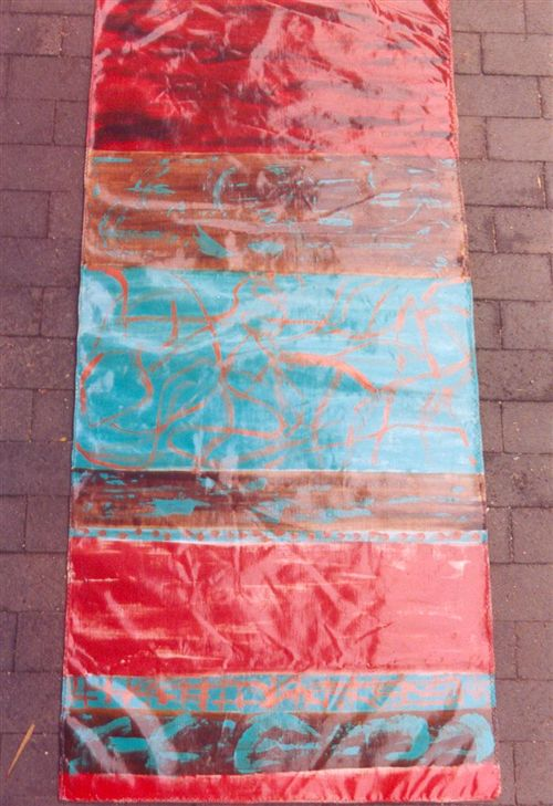 Abstract teal and reds